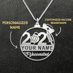 Nurse Vaccinated 2021 Customized Name Handmade 925 Sterling Silver Pendant Necklace