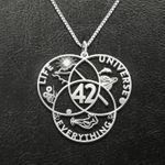 The Hitchhiker's Guide To The Galaxy Answer 42 Handmade 925 Sterling Silver Pendant Necklace