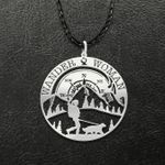 Wander Woman Hiking Handmade 925 Sterling Silver Pendant Necklace