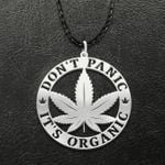 Don't panic It's organic Handmade 925 Sterling Silver Pendant Necklace