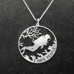 Scuba Diving I Hate People Handmade 925 Sterling Silver Pendant Necklace