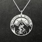 Wander Woman Cycling Handmade 925 Sterling Silver Pendant Necklace
