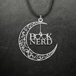 Moon Book nerd Handmade 925 Sterling Silver Pendant Necklace