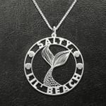 Salty lil' beach Handmade 925 Sterling Silver Pendant Necklace