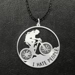 Mountain Bike I Hate People Handmade 925 Sterling Silver Pendant Necklace