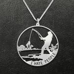 Fishing I Hate People Handmade 925 Sterling Silver Pendant Necklace