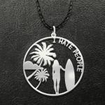 Surfing I Hate People Handmade 925 Sterling Silver Pendant Necklace