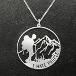Hiking I Hate People Handmade 925 Sterling Silver Pendant Necklace