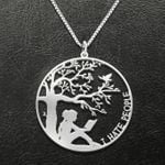 Reading I Hate People Handmade 925 Sterling Silver Pendant Necklace