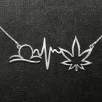Weed Zodiac Heartbeat Libra Handmade 925 Sterling Silver Pendant Necklace