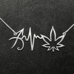 Weed Zodiac Heartbeat Sagittarius Handmade 925 Sterling Silver Pendant Necklace