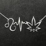 Weed Zodiac Heartbeat Leo Handmade 925 Sterling Silver Pendant Necklace