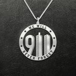 9/11 We Will Never Forget Handmade 925 Sterling Silver Pendant Necklace