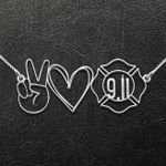 Peace Love Never Forget 9/11 20th Anniversary Handmade 925 Sterling Silver Pendant Necklace