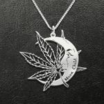 Weed Stoner Moon Child Handmade 925 Sterling Silver Pendant Necklace