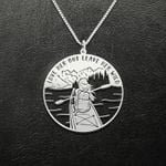 Kayaking Love Her But Leave Her Wild Handmade 925 Sterling Silver Pendant Necklace