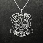 Firefighter All Gave Some Some Gave All 9/11 Never Forget Handmade 925 Sterling Silver Pendant Necklace