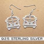 Hippie Van Volkswagen Type 2 Handmade 925 Sterling Silver Earrings