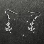 Navy Anchor Handmade 925 Sterling Silver Earrings