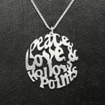 Peace Love And Hollow Points Handmade 925 Sterling Silver Pendant Necklace