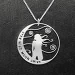 Hippie Stay Wild Moon Child Handmade 925 Sterling Silver Pendant Necklace