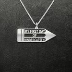 My First Day of Kindergarten Handmade 925 Sterling Silver Pendant Necklace