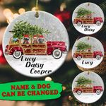 Personalized Dogs Christmas Circle Ornament
