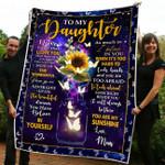 Gift For Your Daughter - Butterfly & Sunflower Fleece Blanket tdh hqt-21sh004