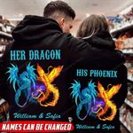 Personalized Dragon And Phonix Couple Hoodie