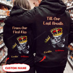 Personalized Till Our Last Breath Skull Couple Hoodie