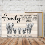 Personalized Family A Little Bit Of Crazy Elephant Canvas