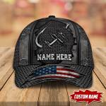 FISHING HOOK AMERICAN FLAG PERSONALIZED CAP