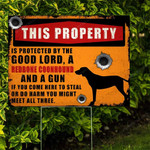Protected By The Good Lord, A Redbone Coonhound And A Gun Yard Sign HTT-27TP004