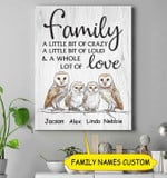 Personalized Family A Little Bit Of Crazy Tytonidae Canvas