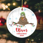 Sloth Personalized Name Circle Ornament hp-14hl014