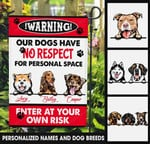 Enter at your own risk dogs Flag ntk-fnq011