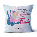 Personalized Name and Date HANDPRINT FAMILY Canvas Pillow DHL-20VA004