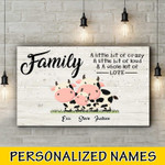 Cow Famlily Personalized three names Canvas