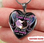 Personalized From Our First Kiss Till Our Last Breath Wolf Heart Necklace