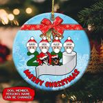Christmas dog and family Circle Ornament NTK-14tp002 (1 sided)