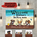 Personalized Beach Bar Dogs Canvas NVL-15VA026