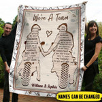 Personalized We're A Team Custom Names Fleece Blanket PHT