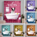 Boston Terrier In Bathroom Canvas