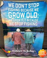 Personalized We Don't Stop Fishing Fleece Blanket hqt-21mq010
