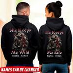 She Keeps Me Wild - He Keeps Me Safe Couple Skull Couple Hoodie NTT-16XT014