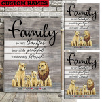Custom Names Lion Family Thankful Grateful Blessed Canvas 3D Printing PHT