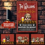 Personalized Custom Bar & Grill Dogs Printed Metal Sign PHT-29TP001
