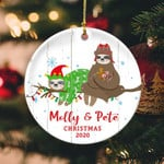 Sloth Personalized Name Circle Ornament hp-14hl016