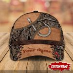 FISHING HOOK LEATHER PATTERN PERSONALIZED CAP