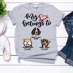 My heart belongs to my dogs Personalized T-shirt